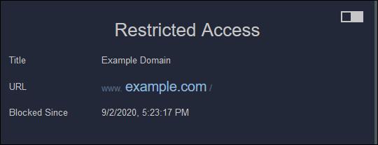"""رسالة """"وصول مقيد"""" في Firefox."""