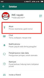 Setelan akun whatsapp