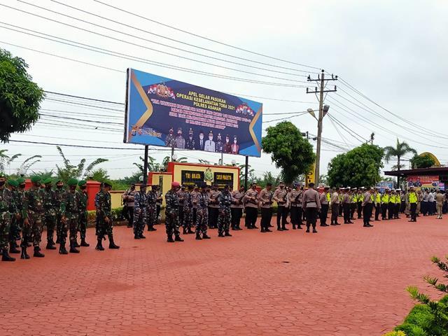 """Apel Gelar Pasukan Operasi Kepolisian Kewilayahan """"Keselamatan Toba 2021"""" Dilaksanakan Personel Jajaran Kodim 0208/Asahan"""