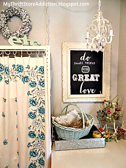 Vintage tablecloth curtain