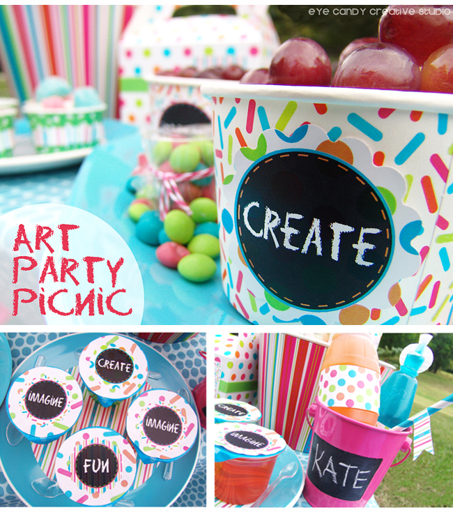 art party, kids picnic, create, summer art party, picnic ideas, kids art party