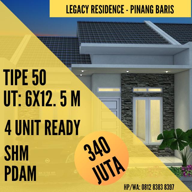Jual Rumah Murah Meriah Legacy Residence Hanya 340 Juta, Dekat Terminal Pinang Baris Medan, Rumah Ready Dan Siap Huni