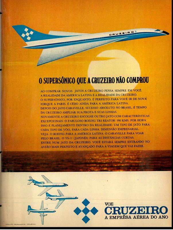 Anúncio antigo da Cruzeiro promovendo seus voos domésticos em 1970