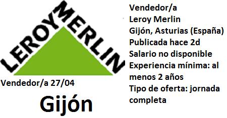 Lanzadera de Empleo Virtual Oviedo, Oferta Leroy Merlin Gijón