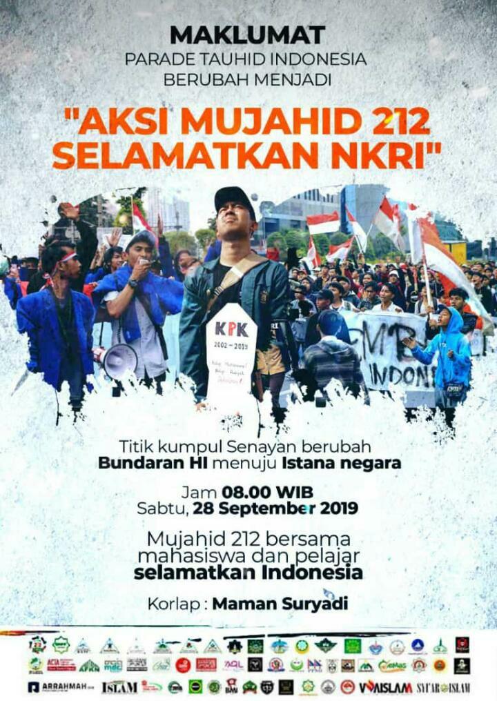 Besok, Aksi Mujahid 212 Selamatkan NKRI