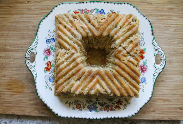 "Food Lust People Love: This spicy salmon shrimp loaf is a new take on my popular salmon shrimp burger recipe, baked in a Bundt pan. It is tender and juicy so you don't need the pink sauce, but I highly recommend it nonetheless. It's a ""meaty"" flavorful slice and the perfect main course for your family or even a dinner party."