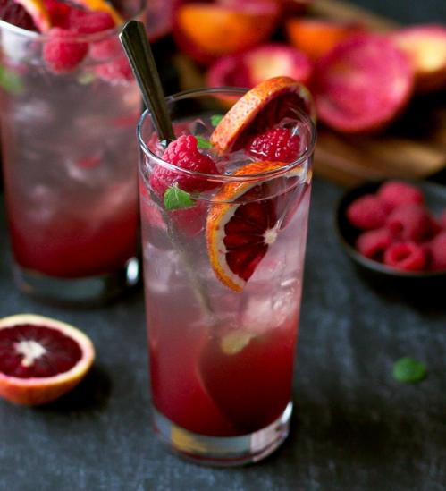 Blood Orange And Raspberry Mojito Recipe #orange #rasberry #drink