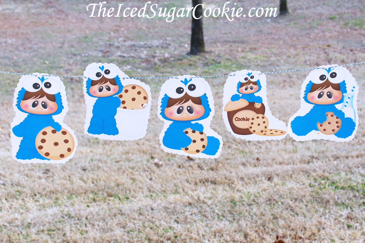 DIY Birthday Blog Baby Cookie Monster Birthday Party DIY Banner