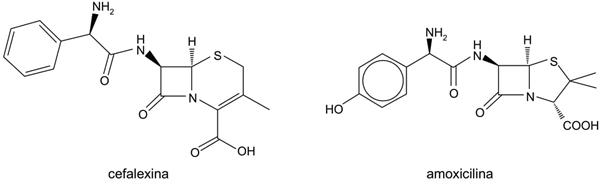 As fórmulas representam as estruturas dos antibióticos cefalexina e amoxicilina