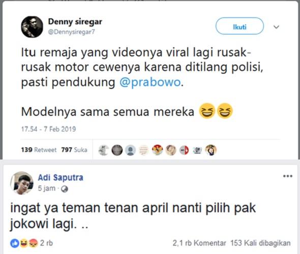 Denny Siregar Tuduh Pembanting Motor Pendukung Prabowo, Ternyata FB-nya Mengejutkan