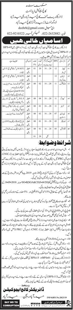 Jobs In Education Department Govt Of Sindh Hyderabad Region 02 Jun