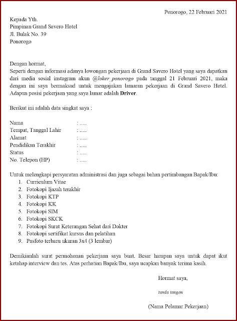 Contoh Application Letter Untuk Driver Hotel (Fresh Graduate) Berdasarkan Informasi Dari Media Sosial