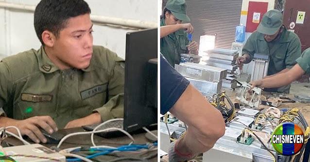 Soldados venezolanos muy ocupados minando criptomonedas