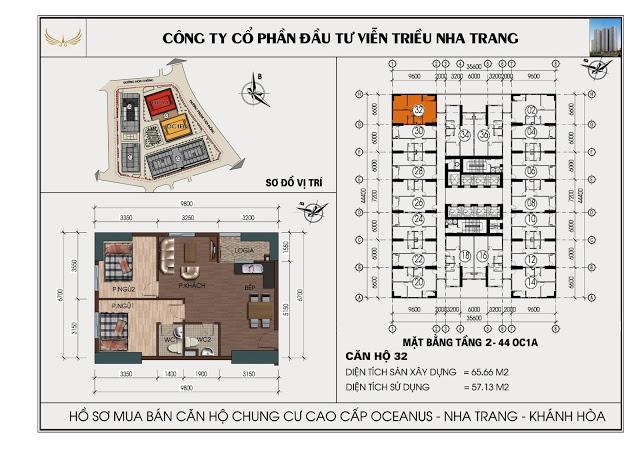 Sơ đồ căn hộ số 32  tòa OC1A Viễn Triều Nha Trang