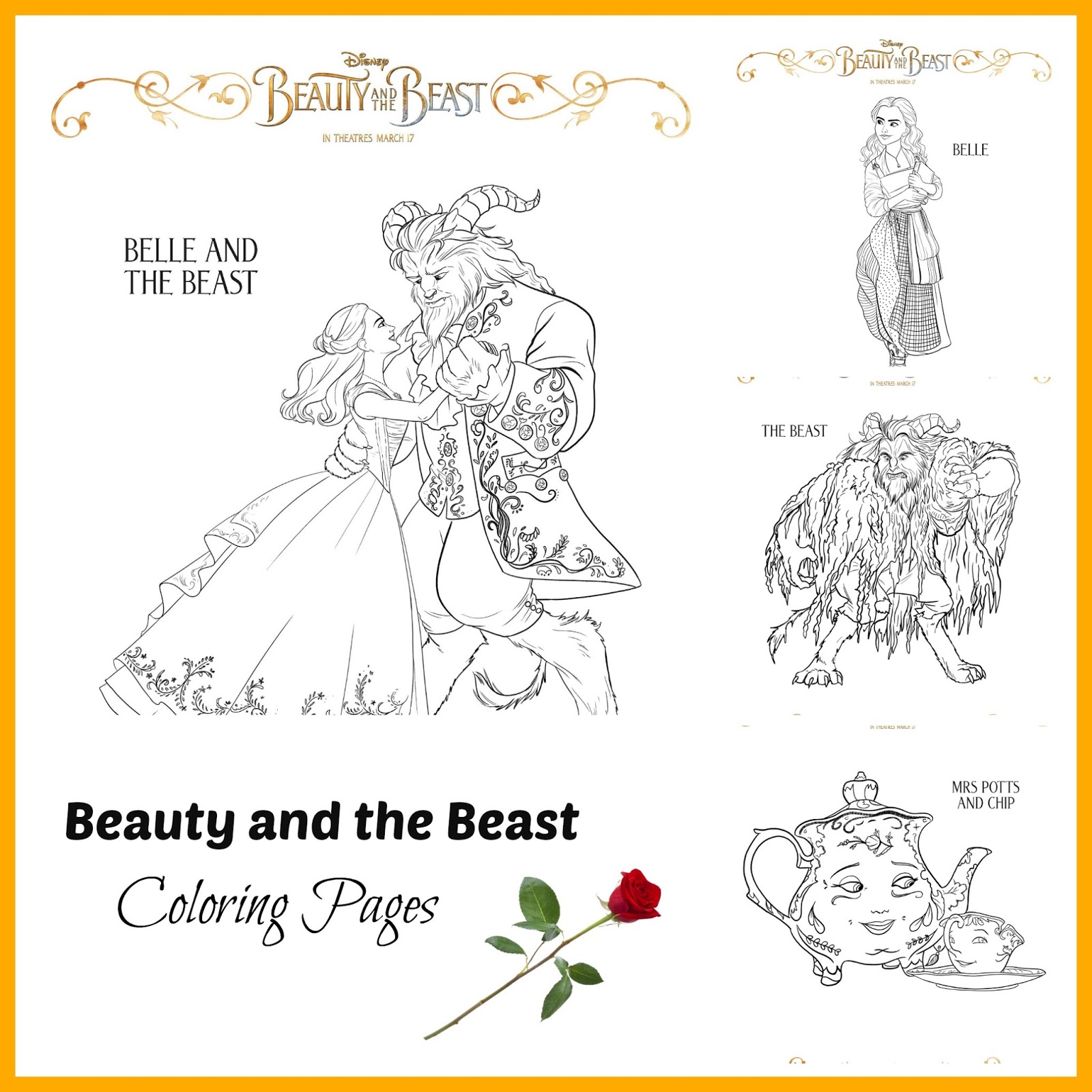 Disney S Beauty And The Beast Coloring Sheets Beourguest