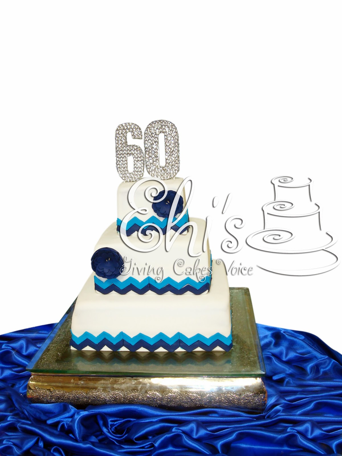 Blue And Chevron Th Birthday Cake