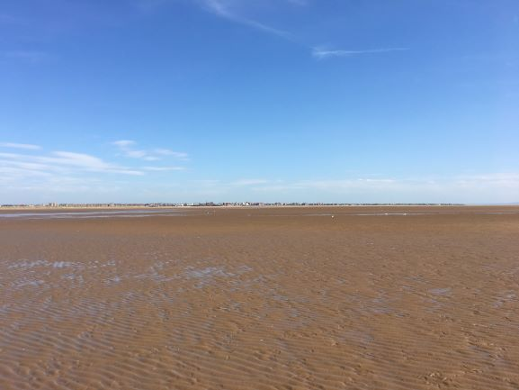 view of the st annes on sea shore from a long way out