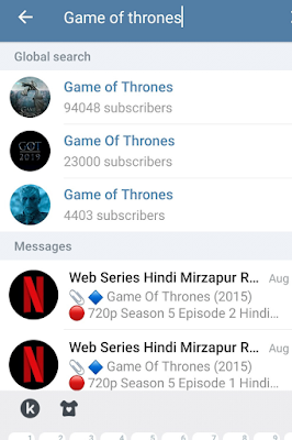 Screenshot Of Game Of thrones channels on Telegram.