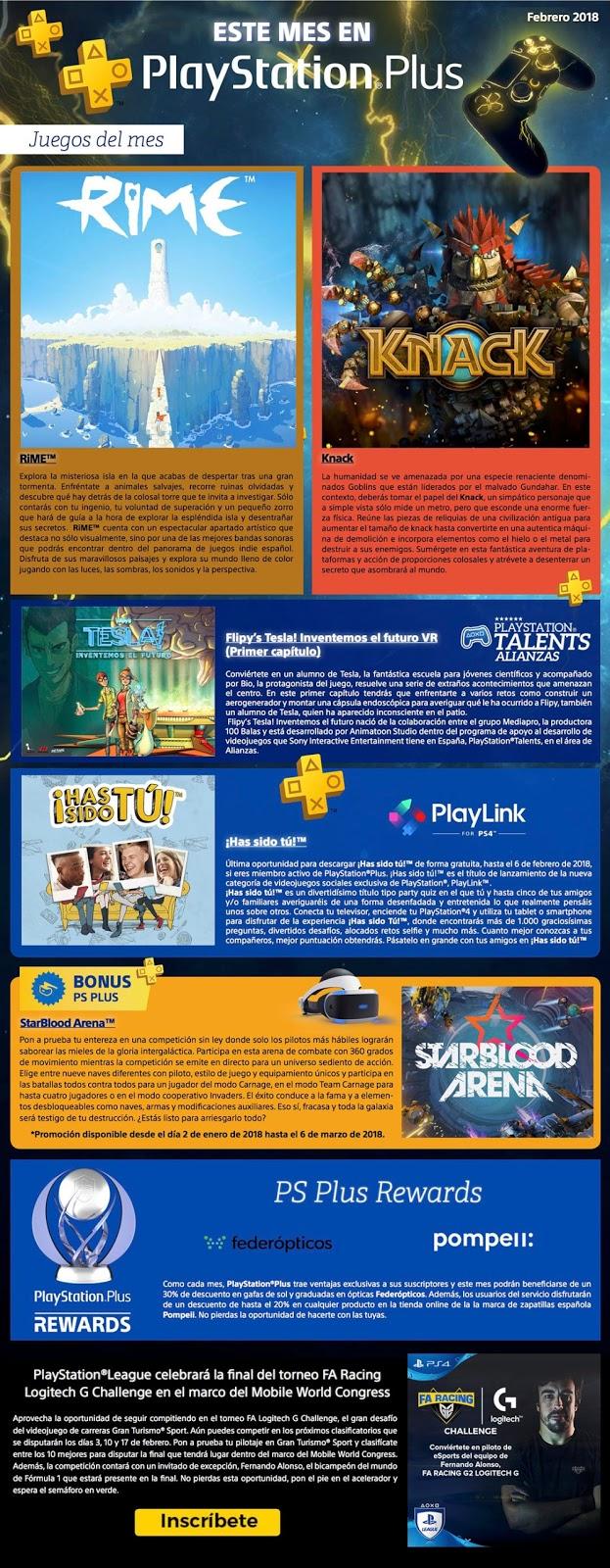 Desvelados los juegos PlayStation Plus de febrero 2018