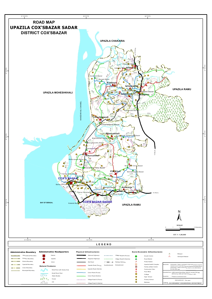 Cox's Bazar Sadar Upazila Road Map Cox's Bazar District Bangladesh