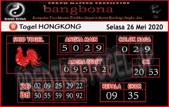 Prediksi HK Selasa 26 Mei 2020 - Bang Bona