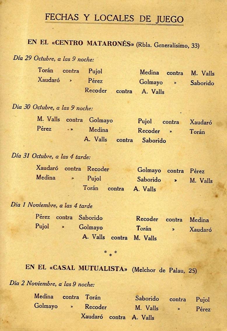 Tercera página del díptico del I Torneo Nacional de Ajedrez de Mataró-1948