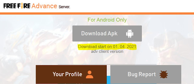 Free Fire (FF) OB27 Advance Server APK download link
