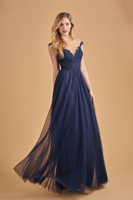Dresses your bridesmaids will love and can wear again after the wedding - wedding dress ideas - blue illusion jewel neckline lace and soft tulle long bridesmaid dress - wedding ideas blog - K'Mich Weddings Philadelphia - jasminbridal.com