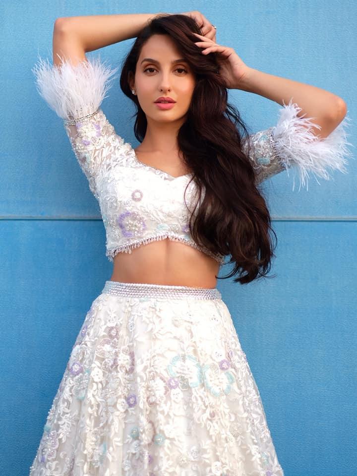 Nora Fatehi White Dress Beautiful Look