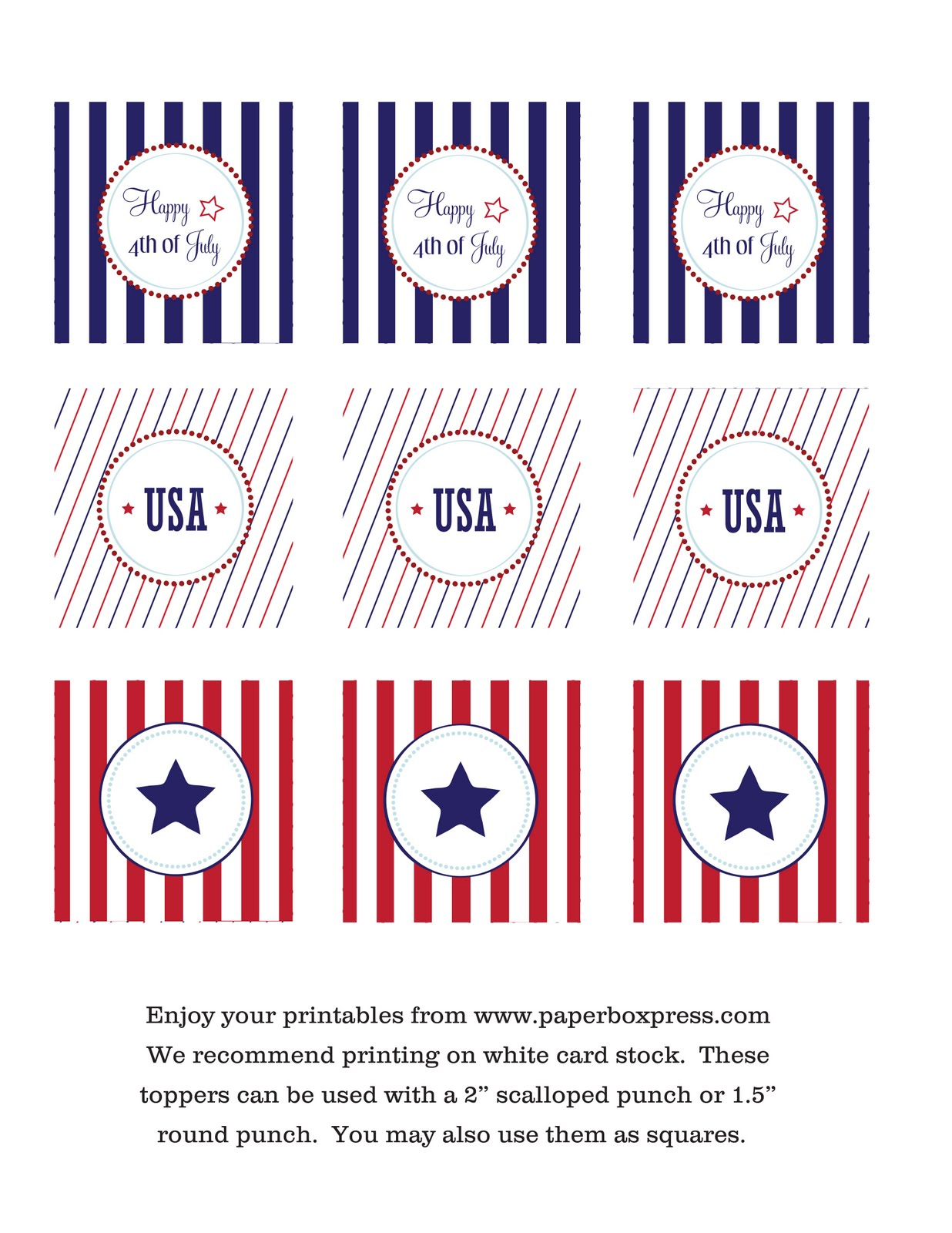 Paperbox Press Parties Free 4th Of July Printables