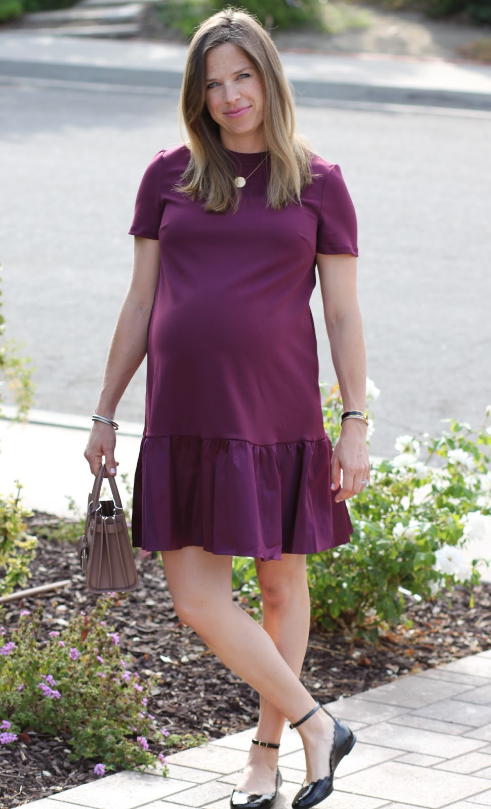 berry ruffle dress