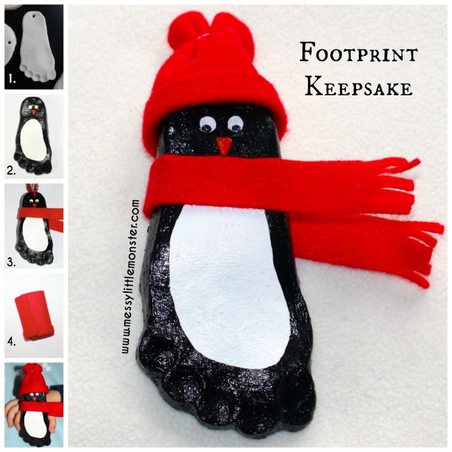 How to make a footprint penguin keepsake using a simple salt dough recipe.  A perfect winter/ christmas craft to remember how tiny you baby, toddler or preschoolers tiny feet are.