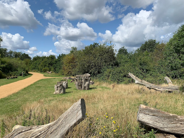 The path round Fairlop Waters Has lots to play on for children