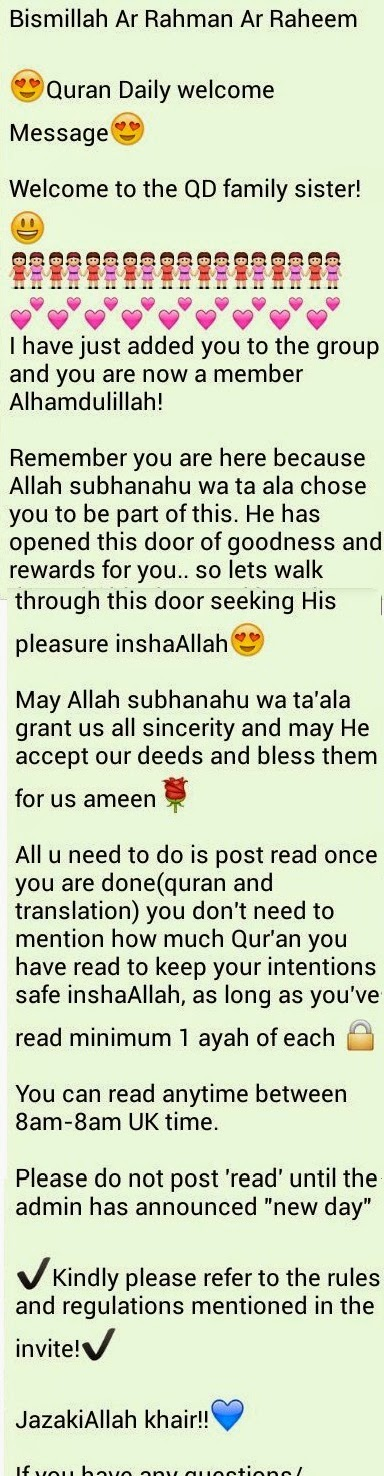 Whatsapp Quran Group: Template messages