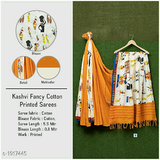 Kashvi Fancy Cotton Printed Sarees