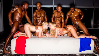 Two white babes Cory Chase and Brandi Love VS big black dicks