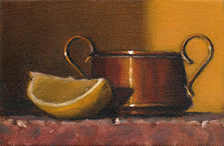 Still life oil painting of a lemon quarter beside a small copper pot.