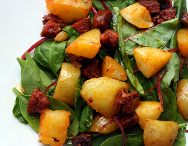warm chorizo and new potato salad