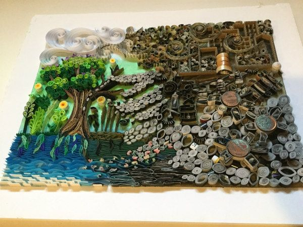 quilled landscape showing nature scene invaded by causes of environmental pollution