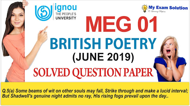 meg 01, british poetry, meg 01 british poetry, previous year question paper,