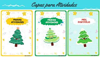 Capas de atividades com pinheirinhos de Natal