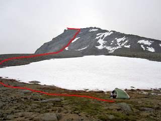 Approximate route going up Tyndall's North Rib.