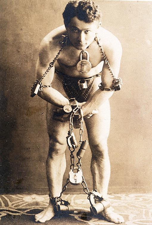 Houdini in Handcuffs, 1899   Photo courtesy of the Breman Museum