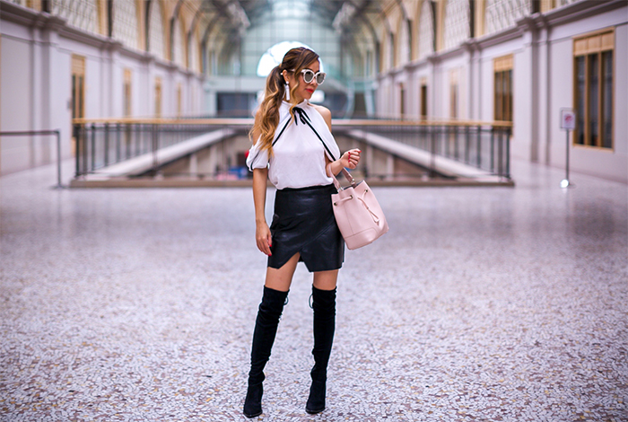 polka dot cardigan, cutout top, leather mini skirt, otk boots, over the knee boots, gentle monster sunglasses, baublebar tassel earrings, furla bucket bag, Fall essentials, fall style, san francisco street style, san francisco fashion blog