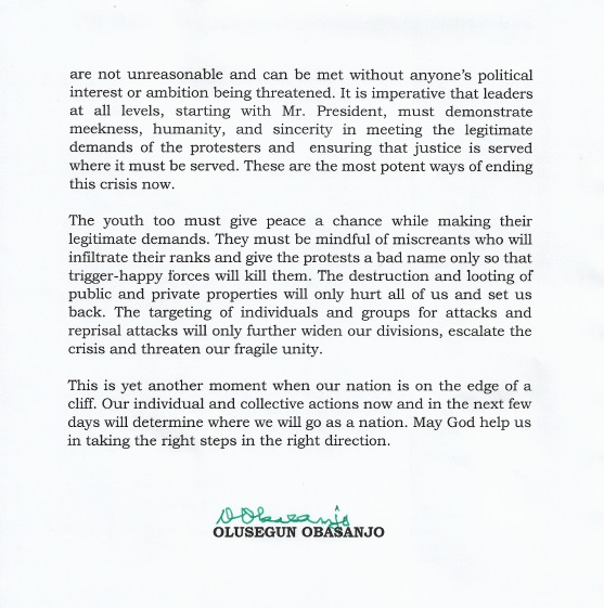 BREAKING: End SARS: Buhari must act now – Obasanjo condemns shootings, govt denials