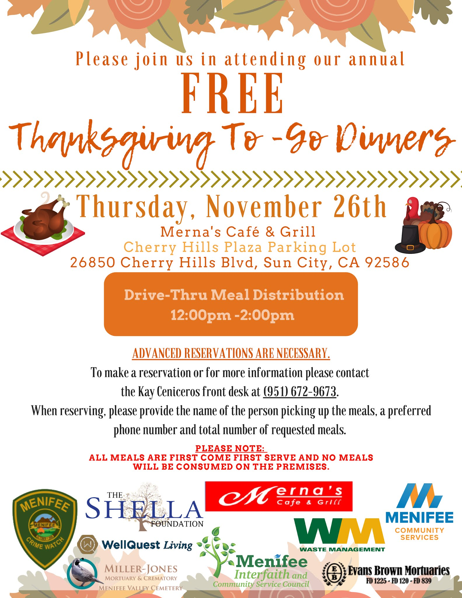 Reservations Required For Free To Go Thanksgiving Meal Menifee 24 7