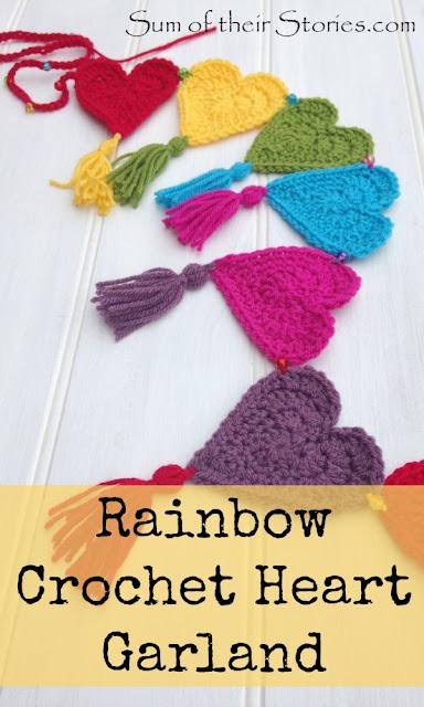 Rainbow heart crochet garland