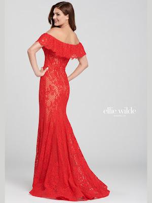 Ellie Wilde Off-shoulder Red Color Prom dress back side