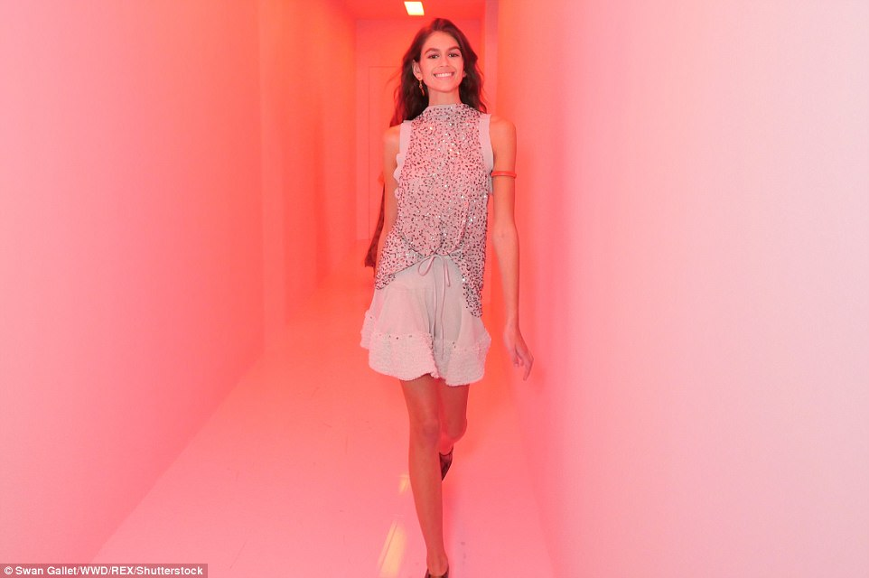 Kaia Gerber, 16, dazzled as she took to the catwalk for Chloe's Spring/Summer 2018 showcase on Thursday at Paris Fashion Week