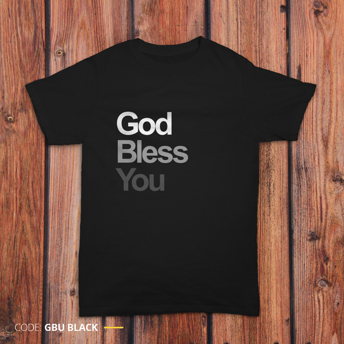 Gambar kaos 'God Bless You' berwarna hitam